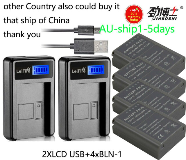 4XBLN-1 BLN1 Battery +2XCharger for Olympus OM-D E-M5 EM5, E-M1 EM1, PEN E-P5 AU