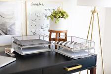 Blu Monaco Stackable Paper Tray 4 Tier Silver Metal Mesh File Holder Organizer