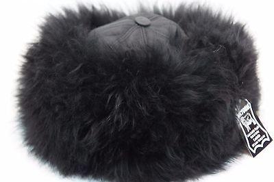 Black, Brown 100% Sheepskin Shearling Leather Fur Beanie Round Bucket Hat S-2XL