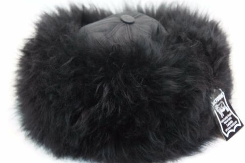 Brown 100/% Sheepskin Shearling Leather Fur Beanie Round Bucket Hat S-2XL Black