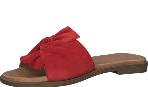 Marco Tozzi Damen Pantoletten rot Größe 36 37 38 39 40 41 27109 Leder Schleife