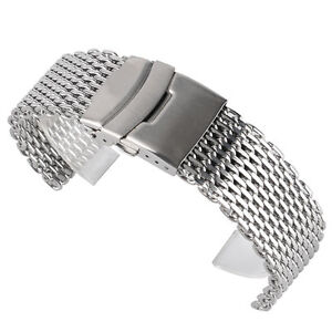 89d6860871c 18mm 20mm 22mm Stainless Steel Mesh Watch Band Fold Over Clasp Mens ...