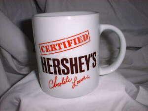 HERSHEY-039-S-Coffee-Mug-CERTIFIED-CHOCOLATE-LOVER-White-Mug-NWOT
