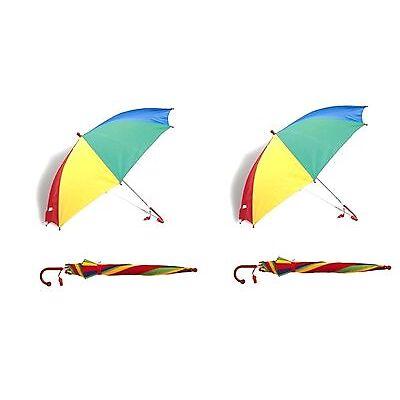 2x Kids Childrens Umbrella+Whistle Bright Rain Brolly Rainbow Umbrella Kids Gift