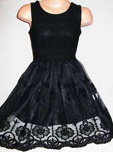 Details about GIRLS BLACK LACE GOTHIC SPECIAL OCCASION PRINCESS PROM PARTY  DRESS age 10,11