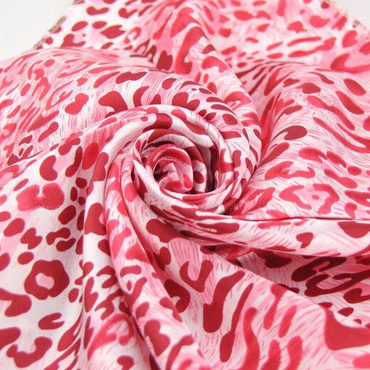 Fashion Women's Pink Leopard Faux Silk square scarf