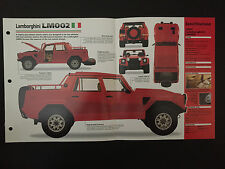 1987 Lamborghini LM002 IMP Hot Cars Spec Sheet Folder Brochure RARE
