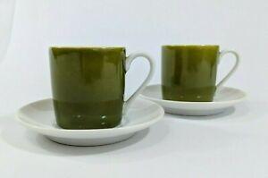 Espresso-Demitasse-Cup-Saucer-Set-Vintage-Otagiri-Green-OMC-MCM-Japan-4-Piece