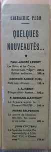 Antique-Brand-Pages-Bookmark-Advertising-cross-Red-Bookstore-Plon-What-039-s-New