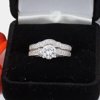 1.5 CT .925 STERLING SILVER ROUND WEDDING ENGAGEMENT RING SET FREE RING BOX!