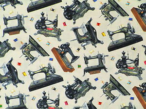 FAT-QUARTER-STITCH-IN-TIME-VINTAGE-SEWING-MACHINES-QUILTING-COTTON-FABRIC-FQ