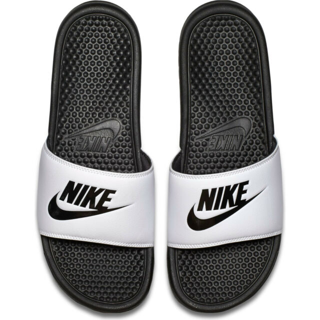 Nike Mens Benassi JDI Slides White Black Sz14 343880 100 for sale ... e80bc2db7