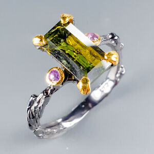 Handmade-Natural-Tourmaline-925-Sterling-Silver-Ring-Size-8-R119631