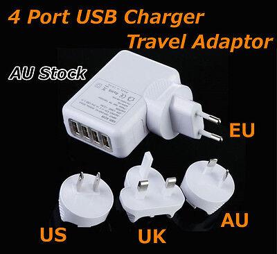 Universal Travel Adapter 4 USB Charger AC Power AU EU US UK International Plug
