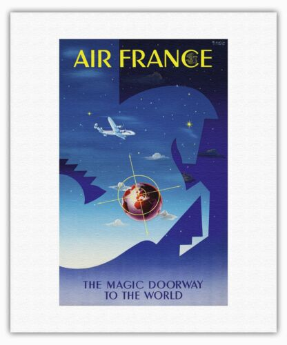 Winged Sea Horse Airplane Globe Vintage Airline Travel Art Poster Print Giclee