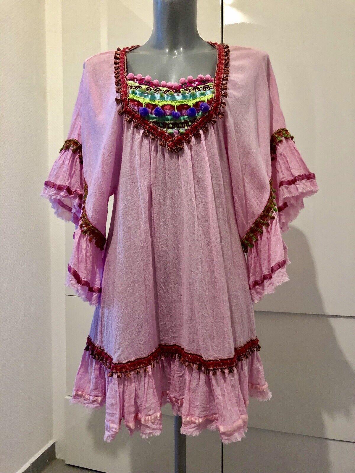 Orig. IBIZA Tunika, Hippie,Rosa Rosa Gr.S  36-40)  Np. FiGoldni Collection