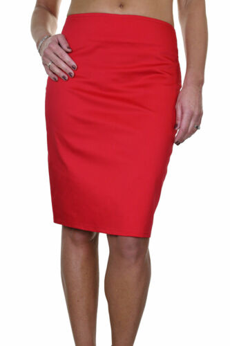 "Womens Stretch Pencil Skirt 22/"" Smart Casual Slight Sheen Red NEW 6-18"