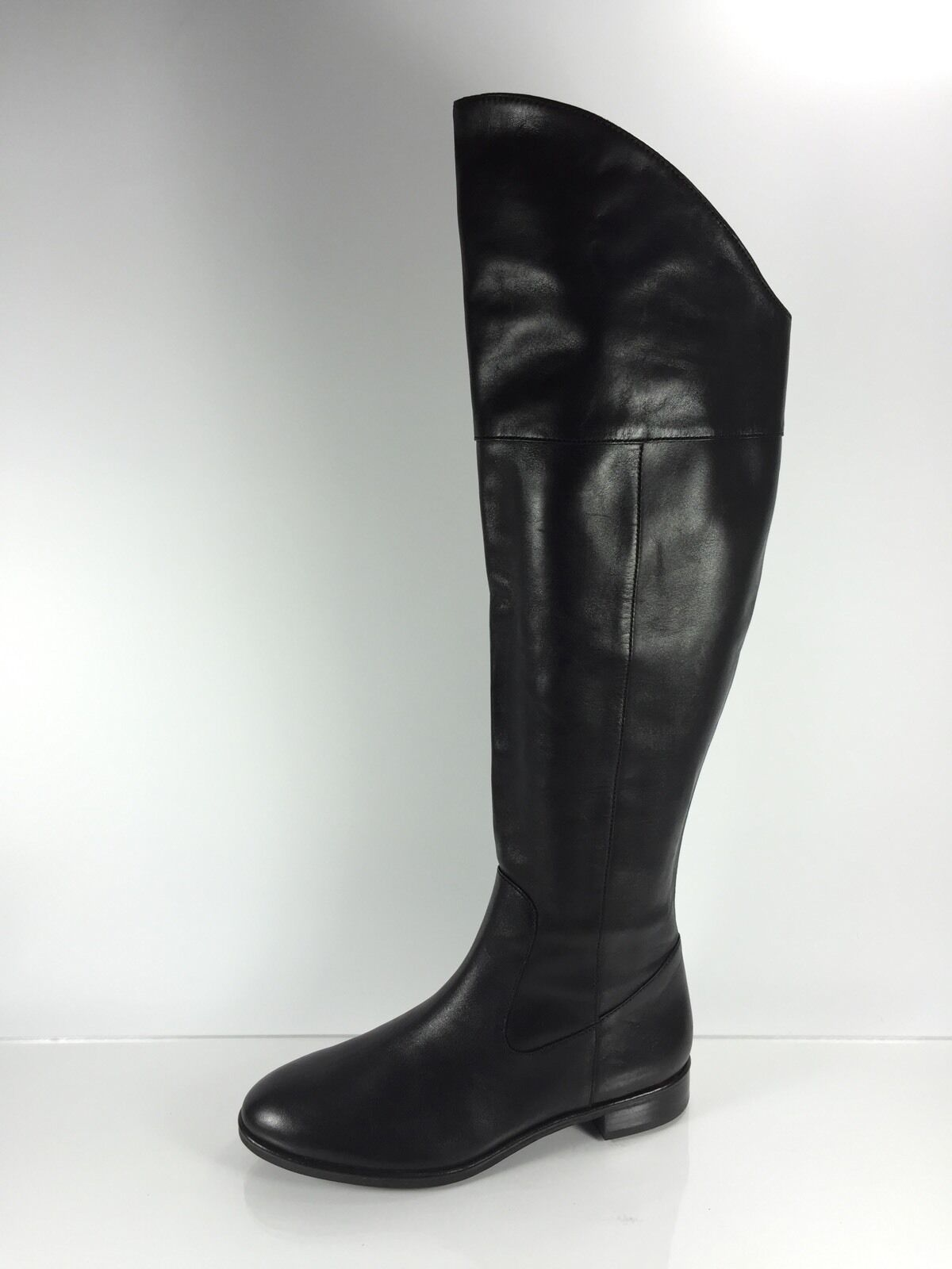 Via Spiga Womens Black Leather Over The Knee Boots 7.5 M
