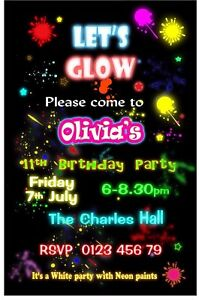 10 Personalised Glow Neon Paint Disco Party Invites Invitations W