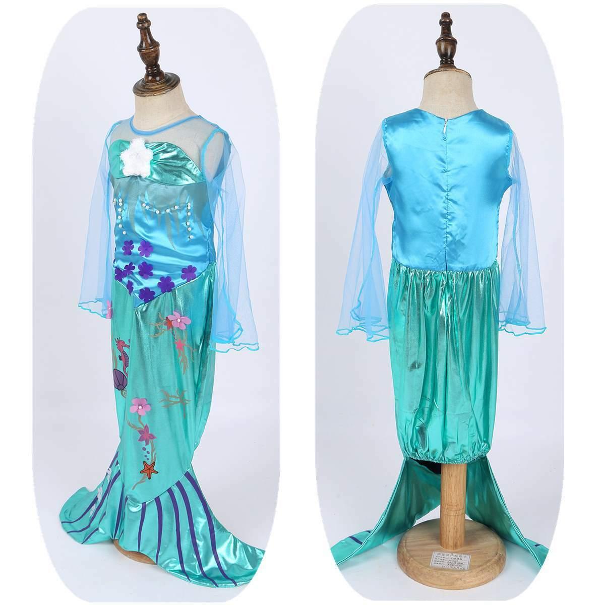 Girl Mermaid Princess Dress Toddlers Cosplay Halloween Mesh Long Sleeve Costumes