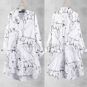 Women-Button-Down-Long-Sleeve-Shirt-Casual-Holiday-Loose-Printed-Blouse-Tops-NEW