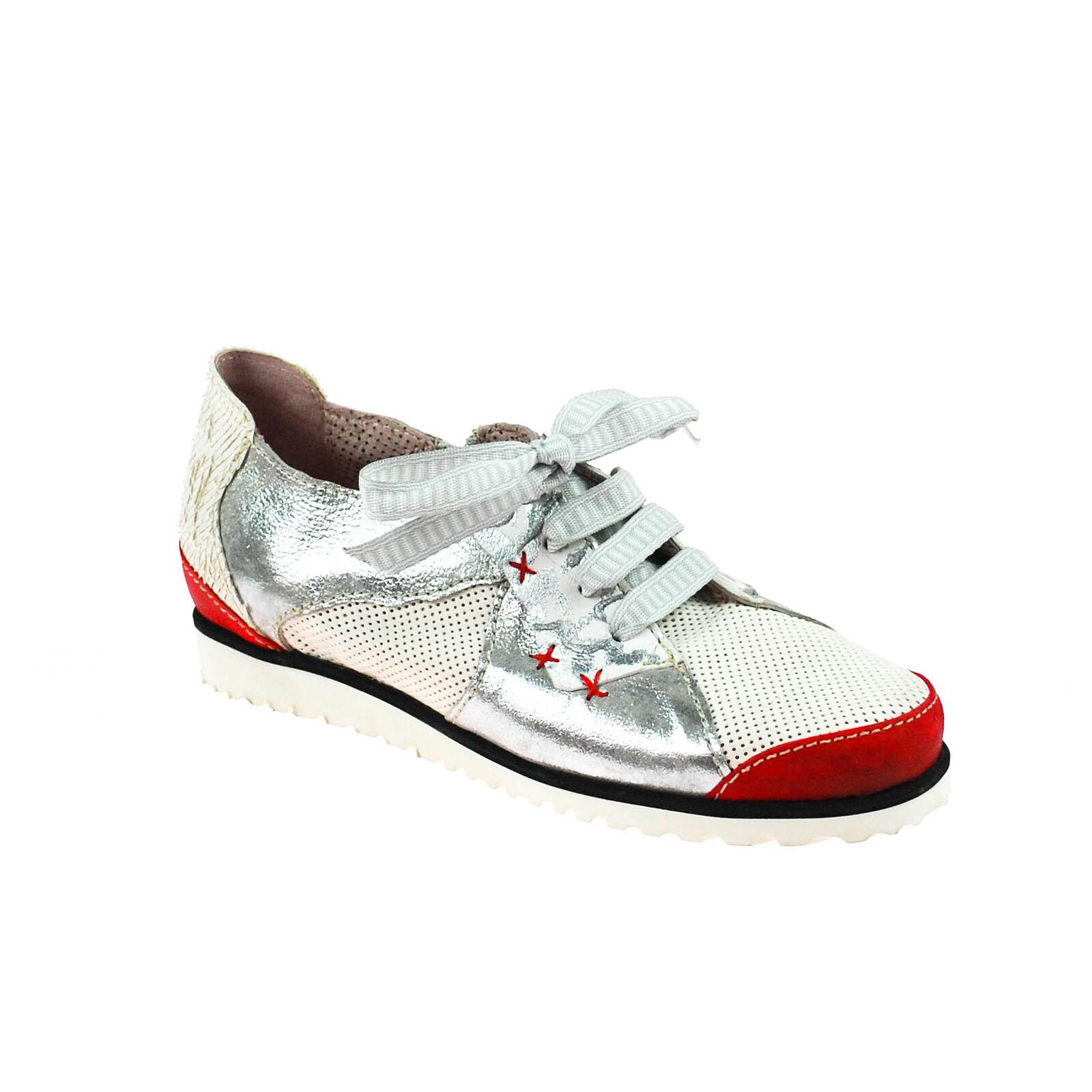 Charme Damen Sneaker Grau Rot Silber Weiß Mehrfarbig