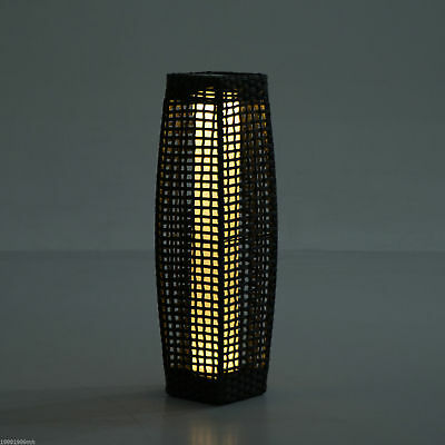 LED Lamp Standing Floor Light Solar Powered Décor Patio Yard Rattan Wicker