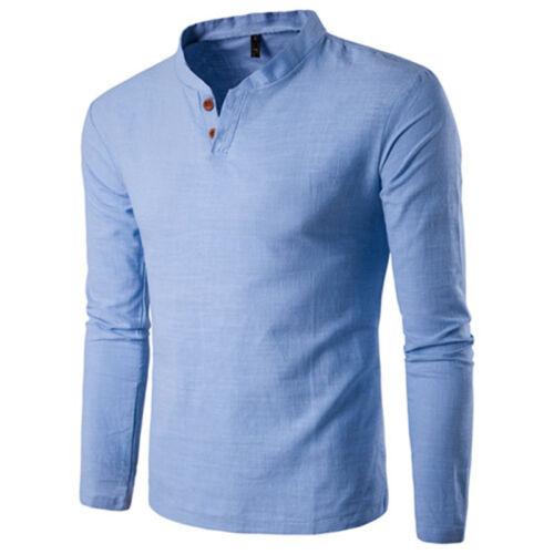 New Mens Henley Shirt T-shirts Shirts Long Sleeve Placket Pullover Comfy Button