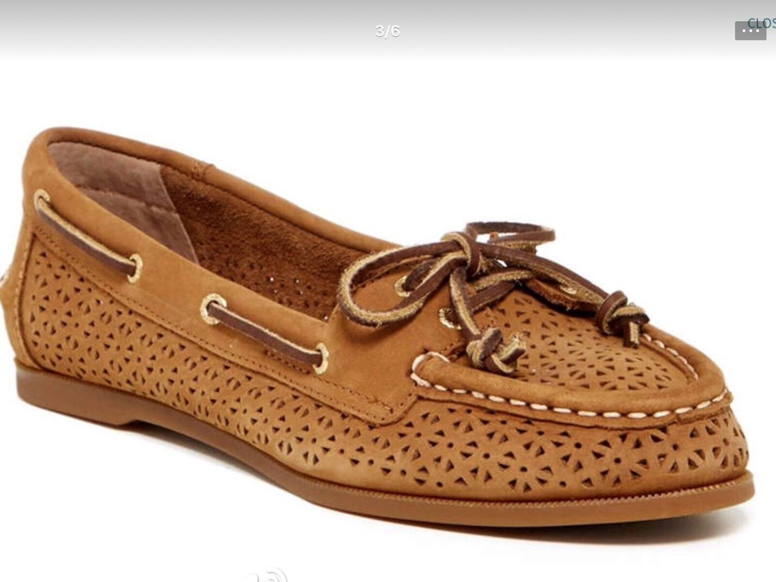 SPERRY AUDREY   Perforated Boat shoes in Cognac , Coral Brand New MSRP  99