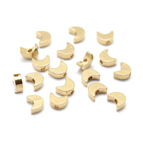 100pc Unplated Brass Moon Metal Beads Smooth Tiny Loose Spacer Beading Craft 7mm