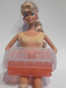 Adorable Barbie SZ Small Rubbermade Style Tote Container Removable Lid