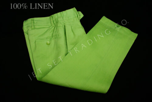 Boys Lime 100/% Linen Set 2 pc Diamond Embroidered Shirt /& Pant Sizes 4 to 18