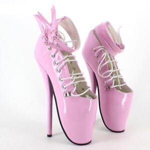 PINK PVC Caviglia Alta Pony Balletto Stivali Con CINGHIE Alta Guarisce sexy corsetto Boot