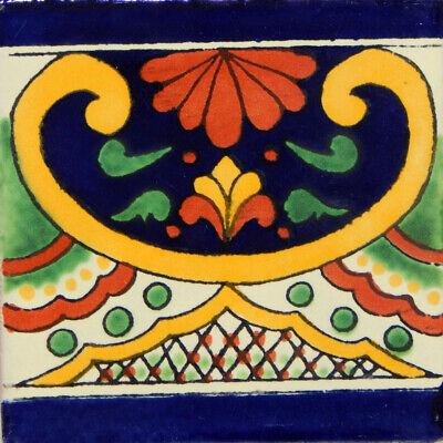 "Handmade Mexican Tile Sample  Talavera Clay 4/"" x 4/"" Tile C248"