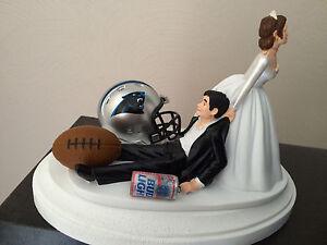 Carolina Panthers Cake Topper Bride Groom Wedding Day NFL Funny Football Theme