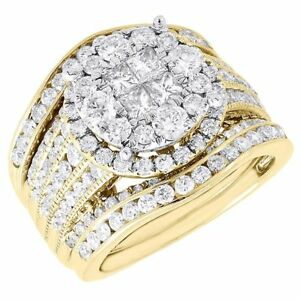 Diamond Bridal Set Ladies 14k Yellow Gold 3 Piece Princess Wedding