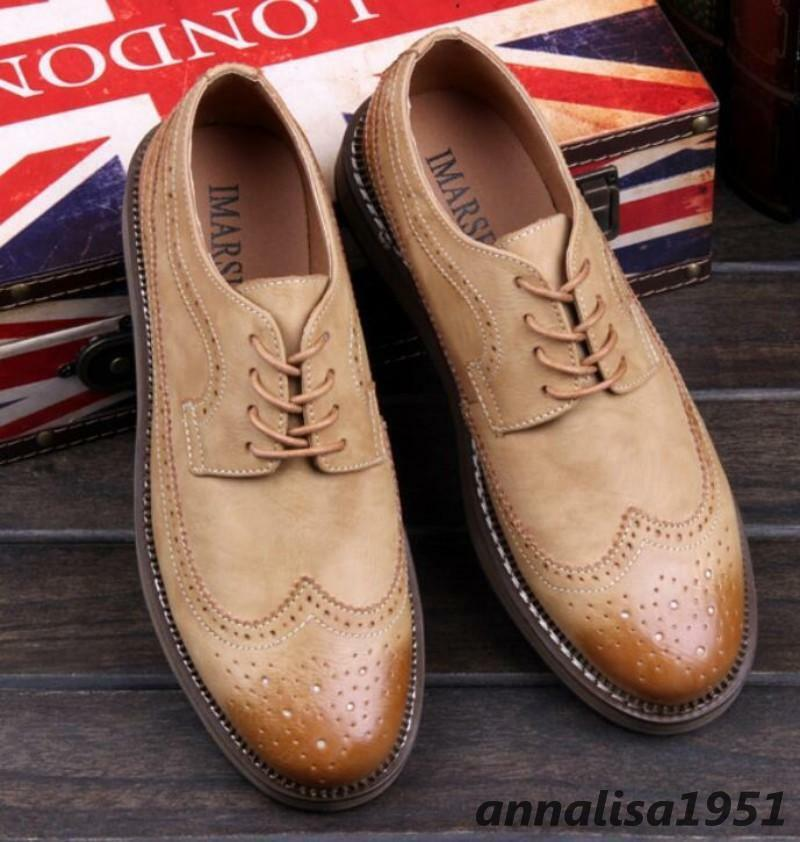 Herren Schuhe Schnürsenkel Halbschuhe Budapester Schnürsenkel Schuhe Retro Trend Business 160656