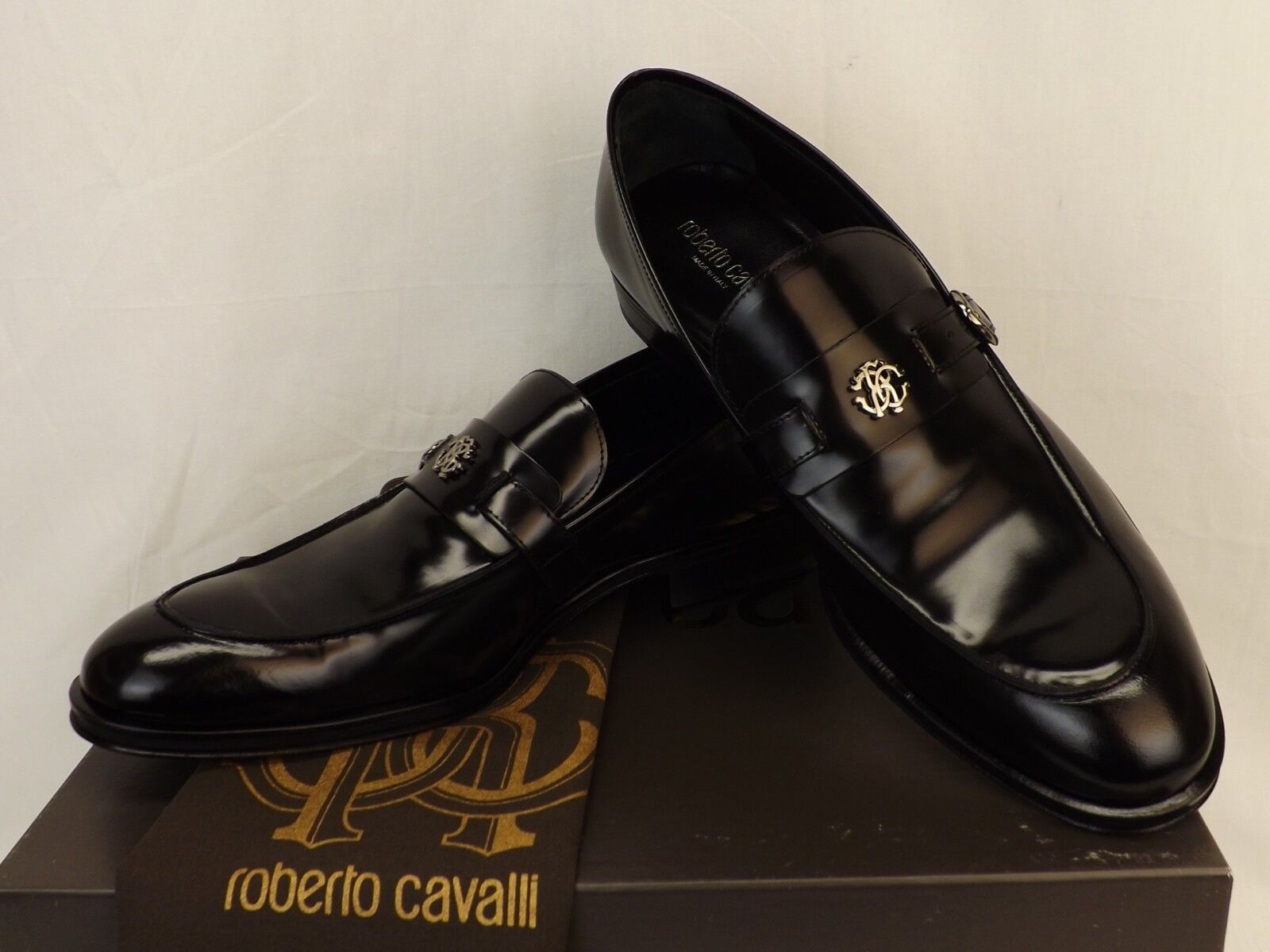 NIB ROBERTO CAVALLI nero LEATHER BELTED BUCKLE LOGO LOAFERS 9 US 42 ITALY