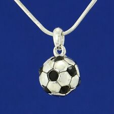 Football Soccer 3D Ball  W Swarovski Crystal Player New Pendant Necklace Gift