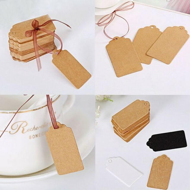 500X Blank Kraft Paper Hang Tags Price Label Luggage Gift Party Stamp Name Card