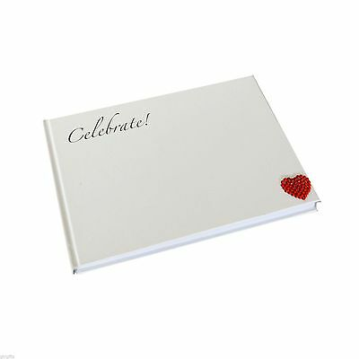 Beautiful Blue Cover Guest Book with Silver Text Crystal Red Love Heart XMGB 1