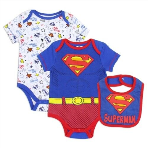 NWT 3PC Baby Boy Superman One Piece with Bib 3//6M 6//9M Size 0//3M