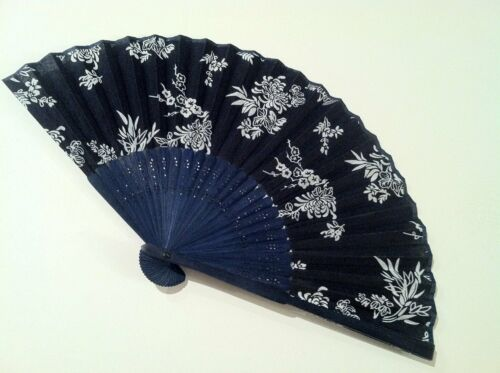 Mum Flowers etc Small Cotton Fabric Hand Folding Fan with Floral Print in Roses