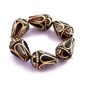 Black-White-Howlite-Brass-6-Beads-Tibetan-Nepalese-Ethnic-Tribal-Handmade-UB02