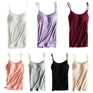 ef762d749e Women Yoga Adjustable Strap Built In Bra Top Padded Vest Camisole ...