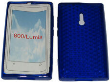 For Nokia Lumia 800 Pattern Soft Gel Case Cover Protector Pouch Blue New UK