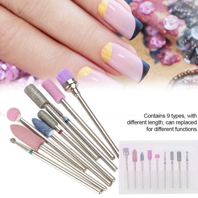 9pcs Electric Nail Drill Bits 3/32\'\' Cuticle Clean Manicure Pedicure ...