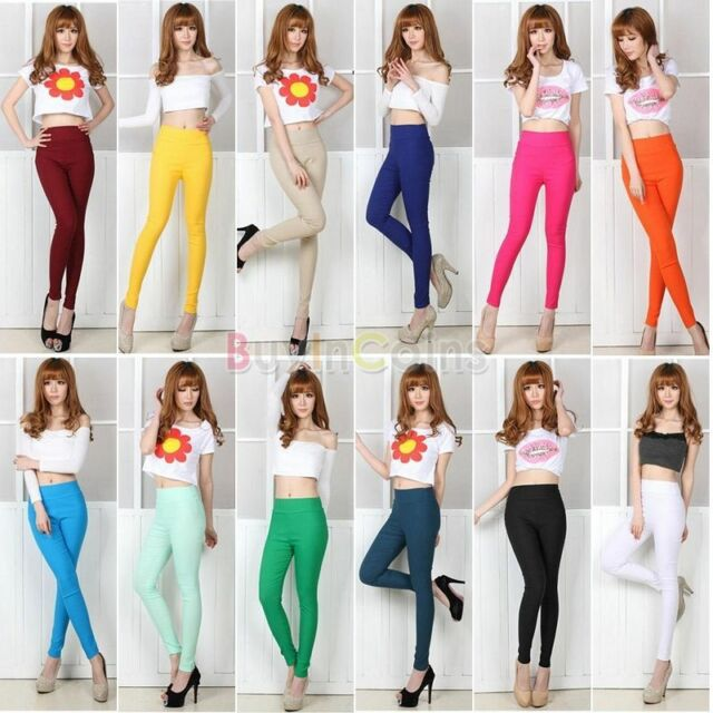 Women Beauty Candy Color Stretch High Waist Pencil Pants Leggings Trousers Green
