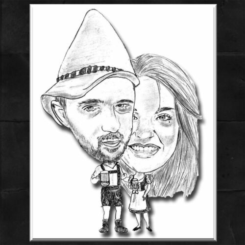 *GESCHENK* DIN A4 Karikatur vom Foto ~ Portrait nach Foto Liebespaar Motiv