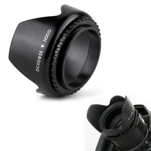 Screw-on-55mm-Professional-mental-COLLAPSIBLE-LENS-HOOD-for-LENSES-Quality-Tool